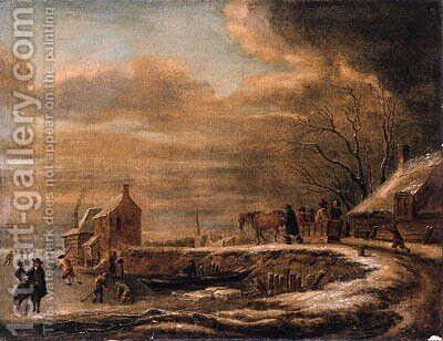 A winterlandscape with a horse-drawn sledge on a road by a farmhouse, kolfers and skaters on a frozen waterway nearby by Claes Molenaar (see Molenaer) - Reproduction Oil Painting