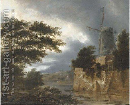A wooded river landscape with a windmill by Claes Molenaar (see Molenaer) - Reproduction Oil Painting