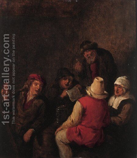 Boors merrymaking in an inn by Claes Molenaar (see Molenaer) - Reproduction Oil Painting