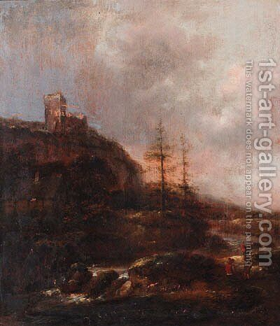 Boors on a riverbank near a waterfall, a ruined castle on a mountain beyond by Claes Molenaar (see Molenaer) - Reproduction Oil Painting
