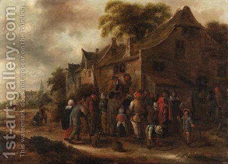 Peasant players in a village street by Claes Molenaar (see Molenaer) - Reproduction Oil Painting