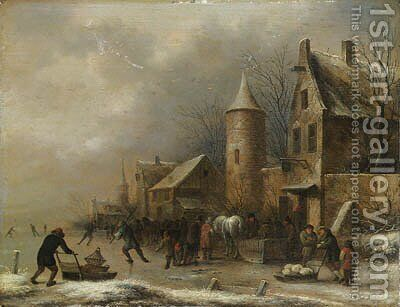 Peasants skating on a frozen river by an inn by a watchtower by Claes Molenaar (see Molenaer) - Reproduction Oil Painting