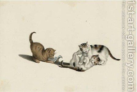 Playful kittens by A. Lamy - Reproduction Oil Painting