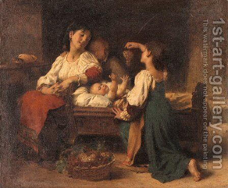 Teasing the baby by Leon-Jean-Basile Perrault - Reproduction Oil Painting