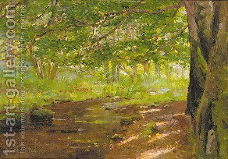 A sunlit woodland stream by (attr. to) Lamont, Thomas Reynolds - Reproduction Oil Painting