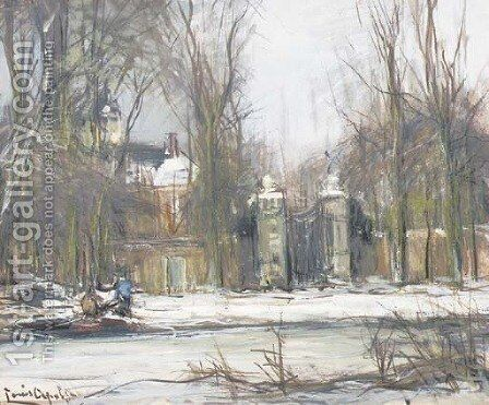 A country road in winter by Louis Apol - Reproduction Oil Painting