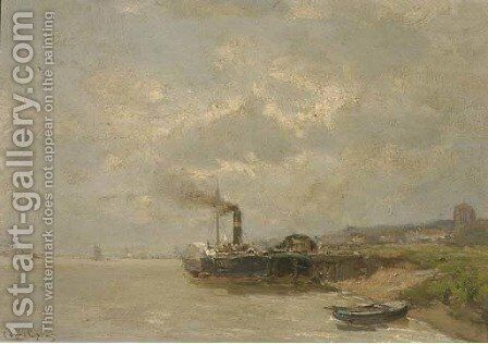 A paddle-steamer along a jetty by Louis Apol - Reproduction Oil Painting