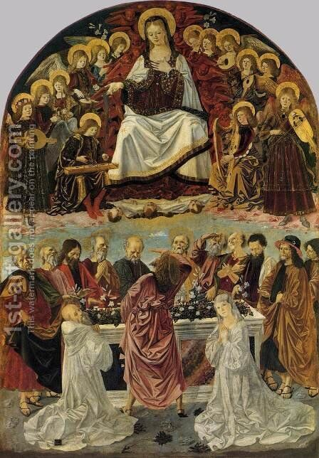 The Lady Of The Assumption Gives St Thomas Her Belt  1475 by Bartolomeo Della Gatta - Reproduction Oil Painting