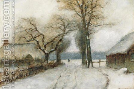 A snow-covered country lane by Louis Apol - Reproduction Oil Painting