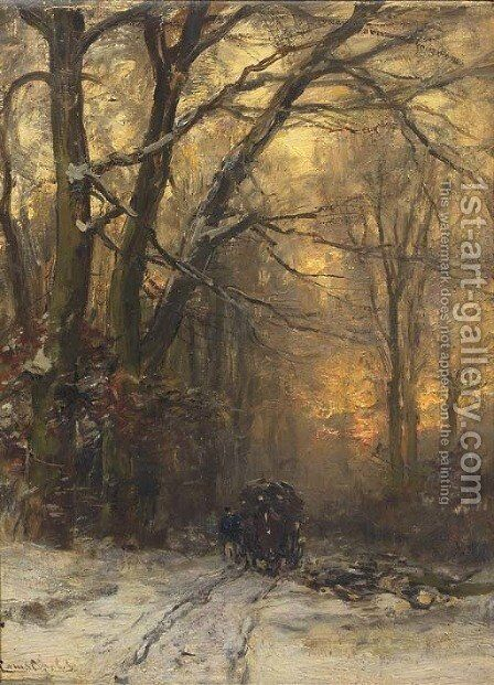 Passing through a forest in winter by Louis Apol - Reproduction Oil Painting