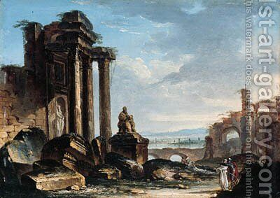 A capriccio of classical ruins with figures conversing in the foreground by Gustave Moreau - Reproduction Oil Painting