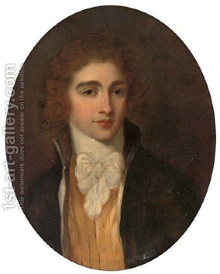 Portrait of a gentleman, bust-length, in a black coat and white tie by Angelica Kauffmann - Reproduction Oil Painting