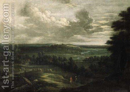 An extensive landscape in summer with an infantryman and a peasant conversing in the foreground by Lucas Van Uden - Reproduction Oil Painting