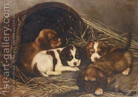 Puppies Painting By Lucy Waller Reproduction 1st Art Gallery