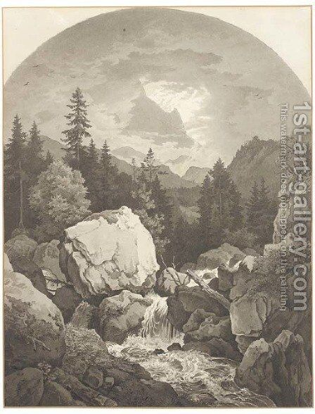 An extensive rocky landscape with a waterfall, mountains seen through clouds beyond by Adrian Ludwig Richter - Reproduction Oil Painting