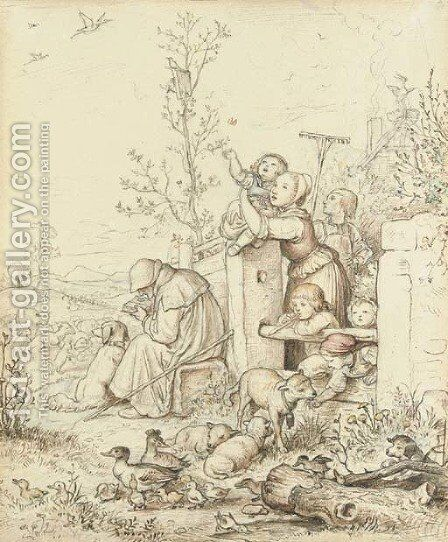 Der Lenz ist angekommen ('Spring is coming') Children at a cottage gate watching the returning storks, a seated shepherd reading by lambs by Adrian Ludwig Richter - Reproduction Oil Painting