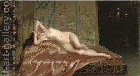 A reclining nude by Luis Ricardo Falero - Reproduction Oil Painting