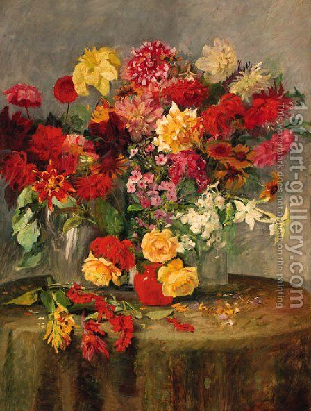 Summer flowers on a table by Alois Schonn - Reproduction Oil Painting