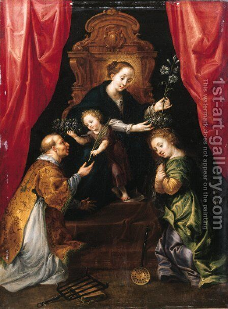 The Madonna and Child enthroned, adored by Saint Lawrence and Saint Martha by Marten Pepijn - Reproduction Oil Painting