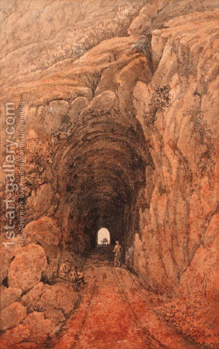 A figure at the entrance to a mountain tunnel by James-Pattison (Major-Gen.) Cockburn - Reproduction Oil Painting