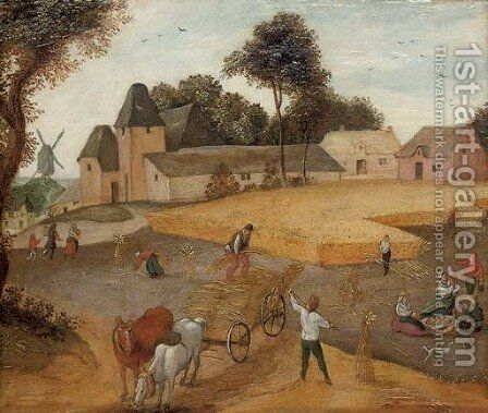 A harvest landscape by (after) Abel Grimmer - Reproduction Oil Painting