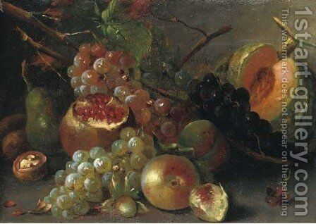 Grapes, a melon, cherries, a walnut, a pomegranate and other fruits on a wooden ledge by (after) Abraham Brueghel - Reproduction Oil Painting