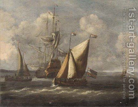 Barges before a Dutch man-o'war by (after) Abraham Jansz Storck - Reproduction Oil Painting