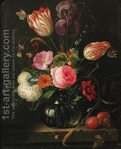 Tulips, roses, ears of corn, snowballs and other flowers in a glass vase with a branch of plums on a stone ledge, butterflies and snails by (after) Abraham Mignon - Reproduction Oil Painting
