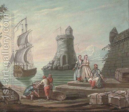A Mediterranean harbour with elegant figures and fishermen by the quay, a ship and a lighthouse beyond by (after) Abraham Storck - Reproduction Oil Painting