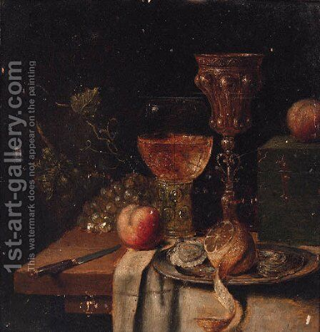 A roemer, a silver-gilt cup, oysters and a peeled lemon on a pewter plate, a knife, a casket with apples and grapes on a partially draped table by Abraham Hendrickz Van Beyeren - Reproduction Oil Painting
