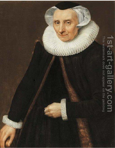 Portrait of a lady, three-quarter-length, in a black fur-lined cape and costume, and a lace white ruff by (after) Abraham Willaerts - Reproduction Oil Painting