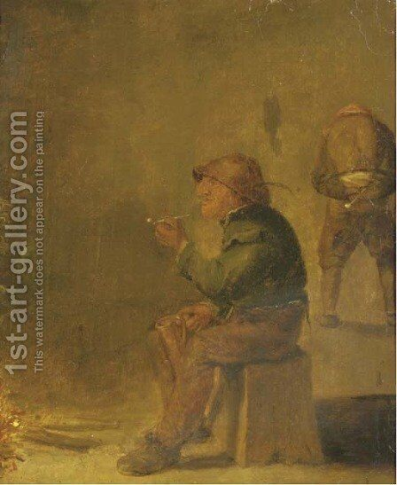 A peasant smoking a pipe and drinking beer near an open fire by (after) Adriaen Brouwer - Reproduction Oil Painting