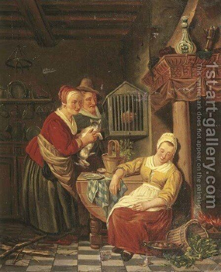 A kitchen interior with a maid asleep, her employers looking on by Adriaan de Lelie - Reproduction Oil Painting