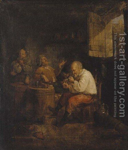 The smokers' corner by Adriaen Jansz. Van Ostade - Reproduction Oil Painting