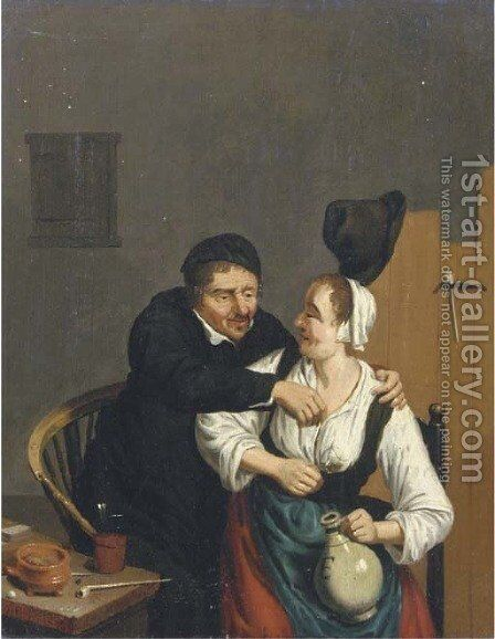 A peasant couple in a tavern by (after) Adriaen Jansz. Van Ostade - Reproduction Oil Painting
