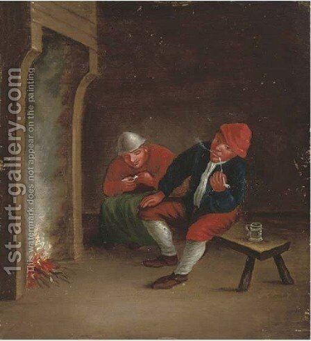 Boors smoking pipes by a fire in an interior by (after) Adriaen Jansz. Van Ostade - Reproduction Oil Painting