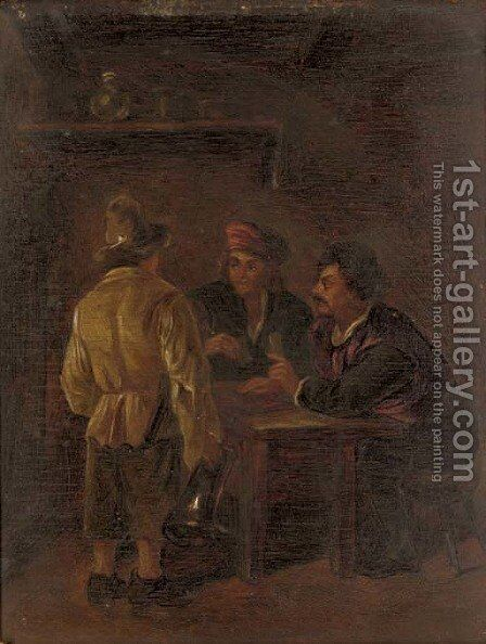 Peasants playing cards in a tavern by (after) Adriaen Jansz. Van Ostade - Reproduction Oil Painting