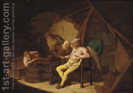 Peasants smoking and drinking in a barn by (after) Adriaen Jansz. Van Ostade - Reproduction Oil Painting