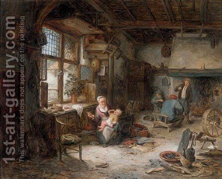 A mother feeding her child and other peasants in an interior by (after) Adriaen Jansz. Van Ostade - Reproduction Oil Painting