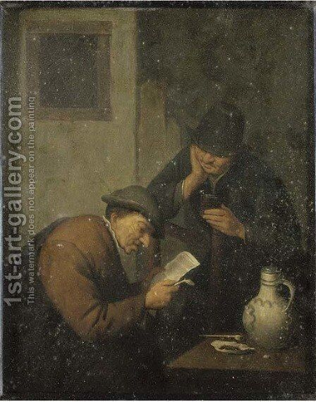 Two peasants at a table in an interior by Adriaen Jansz. Van Ostade - Reproduction Oil Painting