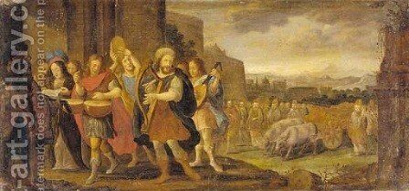 King David dancing before the Ark of the Covenant by (after) Adriaen Van Stalbemt - Reproduction Oil Painting