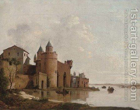 A river landscape with gentlefolk in a rowing boat by a castle by (after) Aelbert Cuyp - Reproduction Oil Painting
