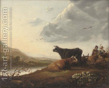Cattle and drovers in a river landscape by (after) Aelbert Cuyp - Reproduction Oil Painting