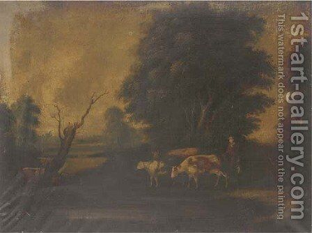 Cattle watering; and Cattle on a riverbank by (after) Aelbert Cuyp - Reproduction Oil Painting