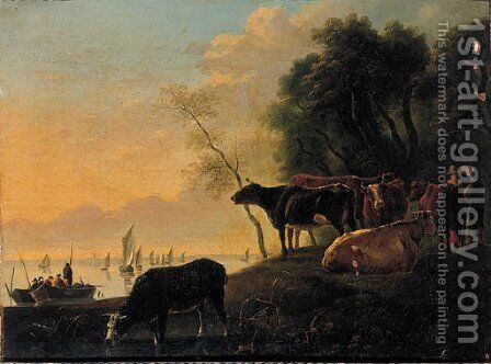 Cowherds and cattle on a riverbank on a summer's day by (after) Aelbert Cuyp - Reproduction Oil Painting