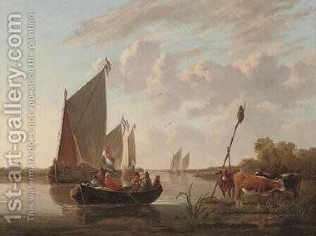 Departing from the riverbank by (after) Aelbert Cuyp - Reproduction Oil Painting