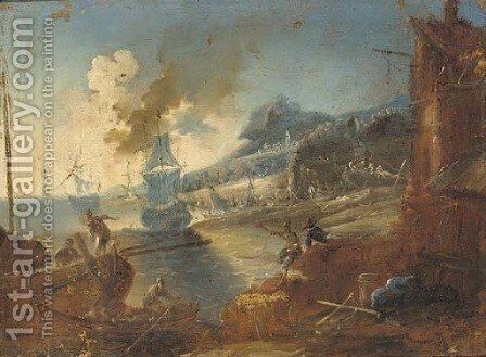 A Mediterranean harbour with a man-o'-war and stevedores on the shore by (after) Alessandro Magnasco - Reproduction Oil Painting