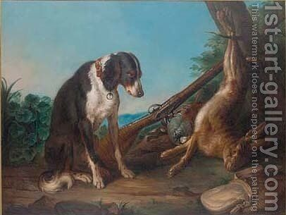 A dead hare and game birds in a clearing with a rifle and a dog by (after) Alexandre-Francois Desportes - Reproduction Oil Painting