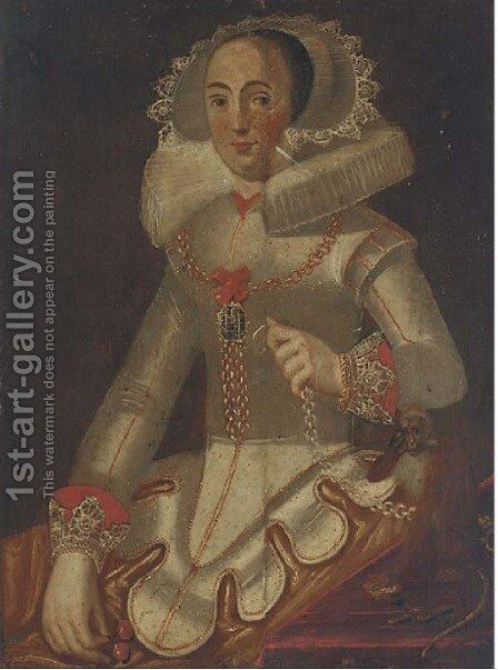 Portrait of a lady seated, half-length, in a 16th Century dress by Alonso Sanchez Coello - Reproduction Oil Painting