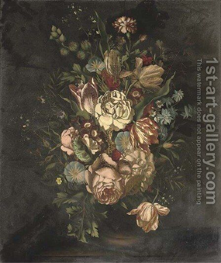 Tulips, roses, carnations, daisies and other flowers in a vase, on a ledge by Ambrosius The Younger Bosschaert - Reproduction Oil Painting